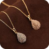 Free shipping 2014 new jewelry european wholesale punk accessories fashion full rhinestone drop necklace female crystal women
