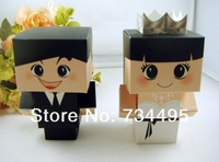 Free shipping!  Wholesale 3D Full Dress Bride and Groom Wedding Favor Boxes, Paper Gift Boxes, Candy Box,Chocalate Boxes
