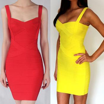 Women candy Spaghetti Strap  Bandage Dress Lady Mini Dress prom club wear Summer Breathable Dress free ship hot sale HL8675