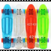 "Freeshipping Transparent Plastic 22"" Full Multicolour 4 Wheels Small Fish Penny Skateboard Penny Board Fish Skate Board"