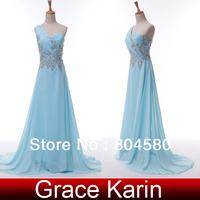 Free Shipping!Charming Grace Karin Beading One Shoulder Vestidos De Chiffon Prom Wedding Evening Party Dresses Light Blue CL4506