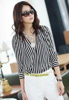 2014 Women's new Autumn Deep V-neck long-sleeved black and white vertical striped chiffon shirt ,0017