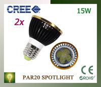 2pcs High Power Dimmable Led E27/GU10/E14/B22 Par20 5x3W 15W LED Light Spotlight 85V-265V Par 20 free shipping