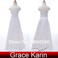 Free Shipping!Charming Princess GK Spaghetti Strap Satin Flower Girl Bridesmaid Wedding Pageant Party Dress  White CL4490