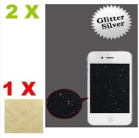 2X Silver Glitter Diamond Finishing Screen Protector Skin film for Apple iPhone 4/4S  free shipping