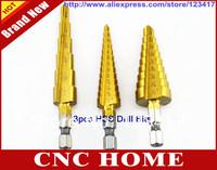 Free Shipping 3pcs 28 Size Titanium Coated Step Drill Bit Cutting Tools Bits Drills Smoother Drill Bit Set Step Bit Tool