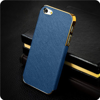 Free shipping new arrival luxury leather electroplate aluminum fashion cover for i phone 5 cases