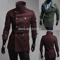 Sobretudo Casacos De La Masculino New Winter Brand Mens Slim Fit Double Breasted Military Wool Coat Men Jacket Pea Coat Overcoat