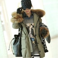 2014 thickening medium-long large fur collar slim down coat women's down jacket