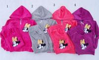 New Autumn girl's 2pcs leisure suit Winter Velvet clothing suits for 3-11 years velvet Minnie Mouse clothes sports suits*5 color