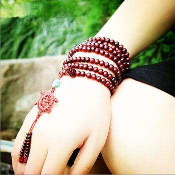 Tibetan Jewelery Red sandalwood Wood 216 6mm Prayer beads Multiturn Buddha Bracelet Men / Women Gift Religion 12Pcs/Lot JB3127