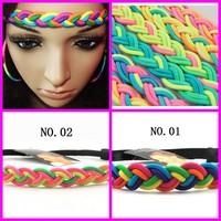 2013  hot  sale  rainbow braided headband elastic headband girls hair accessories   12pcs/lot  free shipping