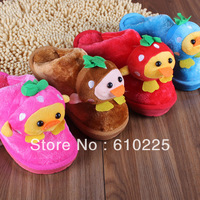 Free Shipping Retail Cotton Winter Warm Children Shoes Kids Cartoon Duck Animal Slippers