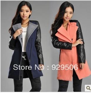 Women winter coat 2013 Women Fashion Winter  pu leather sleeve patchwork  woolen  Outerwear Coat #CJ6062,Free Shipping