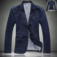 Spring Autumn Fashion Men's Slim Fit Cotton Blue Denim Jacket , Casual Suit Collar Buttons Jean Blazer Coats ,   Blazers For Men