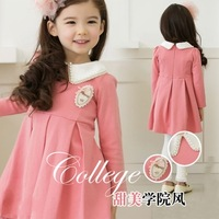 New 2013 Autumn 2 Colours Pearls Turndown Collar Symbol Long Sleeve Dress For Girl Tops Fashion Party Dress Kids Casual Wear
