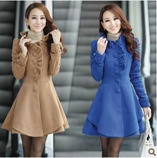 Free fast shipping 2015 autumn & winter woolen slim long design women's wool coat women plus size outerwear(China (Mainland))