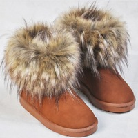 free shipping 2013 women's slip-resistant waterproof wedges shoes fox fur boots platform snow boots