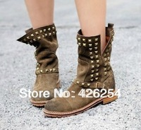 DHL Free Shipping Women Boots Fashion Vintage Faux Leather Motorcycle Boots Rivet Low-heeled Boots