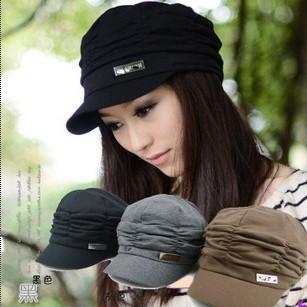 Autumn winter fashion cap 2013 fashion lady sun hat cotton knitting fold designer hats and caps 20pcs/lot(China (Mainland))