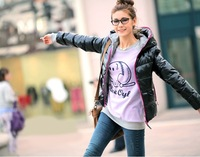 2013 autumn winter fashion women's down coat hoody thermal wadded jacket cotton-padded outerwear 4 colors,free shipping
