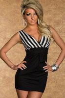 vestido dress women real autumn -summer New Sexy Striped V-neck Fancy Party Mini Dress