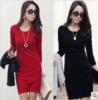 Plus size clothing long-sleeve ol elegant long-sleeve basic skirt slim one-piece dress female
