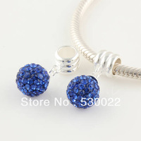 Blue Diamond Ball Swing 925 sterling silver jewelry bracelet necklace loose beads DIY accessories wholesale