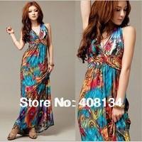 TP1008-Free shipping Bohemian Style New Fashion sexy summer evening dress v-neck maxi long vintage women dress