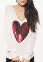 Free Shipping New 2013 Fashion Designer Winter or Autumn Wild Heart Sequin Long Sleeves Knitted Pullovers Sweaters