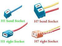 High Quality Blue 14.5CM Ceramic  Car H1 H7 bend/right  Bulb Holder Socket H1 H7 Connector Free shipping 92pcs/lot