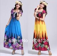 TP1005-1pcs dropshiping Bohemian Style Gorgeous circle dress bohemian dress Blossoming of Maximo Oliveros