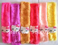 12pcs/lot Hello Kitty Minnie Mickey cartoon Soft shawl muffle Plush Scarf Pink for Girl Children kids winter neck warmer