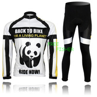Freefisher Men's Cycling Bicycle Clothing Sport Long sleeve Jersey + Pants Panda