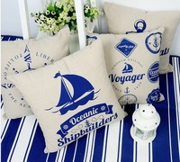 home textiles 8 pcs/set 43*43cm square cushion cover cotton and linen material bule and white ocean theme
