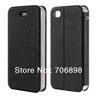 Free Shipping PU Leather Case with Sucker Flip Case for Iphone 4