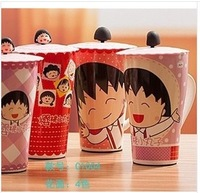 4 types,cute Animated cartoon Chi-bi Maruko large capacity mugs with cover coffee cup,drink water milk cup 550ml