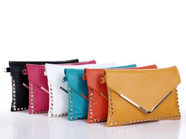 2014 new European and American retro rivet word v envelope bag clutch shoulder bag(China (Mainland))