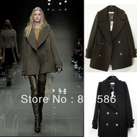 FREE SHIPPINGautumn overcoat women's double breasted woolen outerwear slim elegant fashion medium-long woolen overcoat outerwear