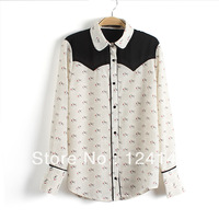 AQ Fashion 2013 autumn turn-down collar print black chiffon patchwork long-sleeve casual shirt female chiffon shirt