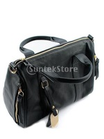 Free Shipping Fashion Women PU Leather Casual Handbag Shoulder Bag - Black
