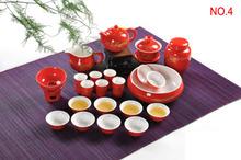 Red black golden dragon kung fu tea set bone china cup bowl ceramics white porcelain