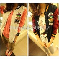 Free shipping Women's fashion casual sports logo pattern cardigan jacket 2 colors Size S-M-L-XL-XXL
