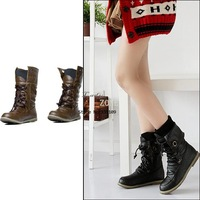 Korea Women's Lace-Up Buckle Strap Fashionable Flattie Ankle Boots Shoes 2 Colors 7882