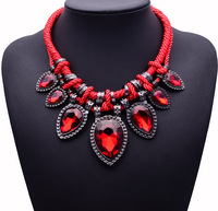 2013 new arrival korean mental drop gem the big rope handmade knit collar necklaces