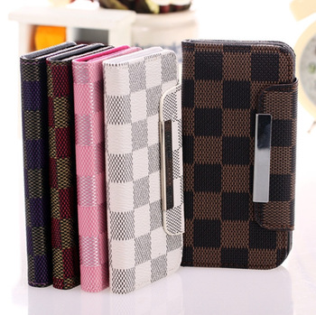 Free Shipping Leather Case England Check Style ,PU Flip Cover For Iphone...