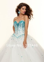 2014 Unique Sexy Long Prom Dress Designer Sheer Champagne White Sweet 16 Dress Blue Gold Crystals Special Occasion Pageant Gown
