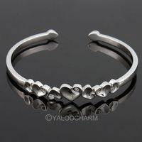 925 Sterling Polished Silver 7 Hearts Bracelet/Bangle Jewelery Adjustable 261871