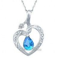 VINTAGE NATURAL BLUE SAPPHIRE TOPAZ  925 SILVER HEART PENDANT JEWELRY 261878