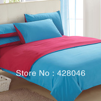 Red blue Brushed fabric plain 4pcs bedding sets/solid bedclothes/pure duvet covers/bed sheet/bed linens textile#02+free shipping